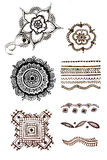 Henna patterns tattoo on a white background Royalty Free Stock Images