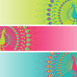 Henna peacock banners Royalty Free Stock Image