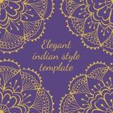 Henna postcard. Elegant indian style template on violet background Stock Image