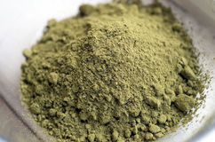 Henna Powder. Close up of raw Henna powder used for natural color dyeing stock photography