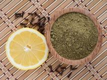 Henna powder and lemon Royalty Free Stock Photography