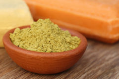Henna powder with other beautification product Royalty Free Stock Photos