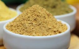 Henna and sandalwood powder. Close up of henna and sandalwood powder Stock Photo