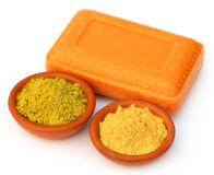 Henna and sandalwood powder with soap Stock Photography