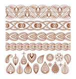 Henna seamless borders and paisley elements Royalty Free Stock Images