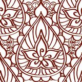 Henna seamless pattern of brown lines on a white background. Ethnic Indian style ornament tattoo. Royalty Free Stock Photography