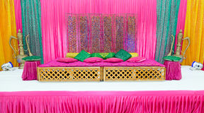 Henna stage. Colourful henna party wedding stage stock image