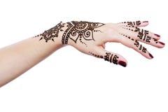 Henna stosuje ręka Zdjęcia Royalty Free
