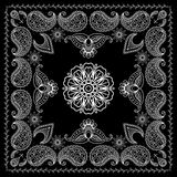 Henna Style Black and White Bandana Print. Black and White Bandana Print With Element Henna Style. Vector illustration Royalty Free Stock Photos