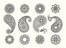 Henna tatoo paisley icons set Stock Photography