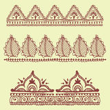 Henna tattoo brown mehndi flower doodle ornamental decorative indian design pattern paisley arabesque mhendi Stock Images