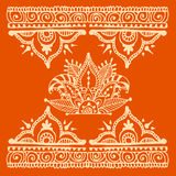 Henna tattoo brown mehndi flower doodle ornamental decorative indian design pattern paisley arabesque mhendi Stock Photo