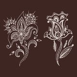 Henna tattoo brown mehndi flower doodle ornamental decorative indian design pattern paisley arabesque mhendi vector illustration