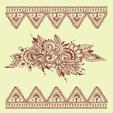 Henna tattoo brown mehndi flower doodle ornamental decorative indian design pattern paisley arabesque mhendi Stock Photos