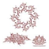 Henna tattoo brown mehndi flower doodle ornamental decorative indian design pattern paisley arabesque mhendi Royalty Free Stock Image