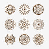 Henna tattoo brown mehndi flower template doodle ornamental lace decorative element and indian design pattern paisley. Arabesque mhendi embellishment vector Stock Images
