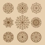 Henna tattoo brown mehndi flower template doodle ornamental lace decorative element and indian design pattern paisley. Arabesque mhendi embellishment vector Royalty Free Stock Image