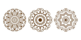 Henna tattoo brown mehndi flower template doodle ornamental lace decorative element and indian design pattern paisley. Arabesque mhendi embellishment vector Stock Photos