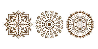 Henna tattoo brown mehndi flower template doodle ornamental lace decorative element and indian design pattern paisley. Arabesque mhendi embellishment vector Royalty Free Stock Photo