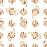 Henna tattoo brown mehndi flower doodle ornamental decorative indian design seamless pattern background paisley Royalty Free Stock Photos