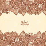 Henna tattoo colors Indian style floral frame Stock Photo