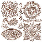 Henna tattoo doodle elements.Vector set. Stock Photography