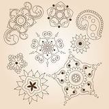 Henna tattoo doodle set. Mehndi linear elements on brown background. Vector illustration Royalty Free Stock Photos