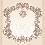 Henna Tattoo Flower Frame Doodle Vector Design stock illustration