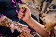 Henna Tattoo hand painting in Morocco. Henna Tattoo traditional Arabic hand painting in Morocco Stock Photos