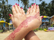 Henna tattoo on the hand Royalty Free Stock Images
