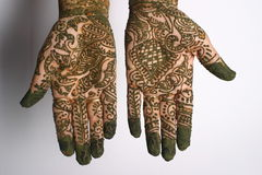 Henna tattoo on hands. Young woman hands painted with henna in traditional design Stock Photos