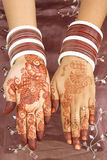 Henna tattoo on the hands Stock Photos