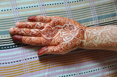 Henna tattoo at a left hand Stock Image