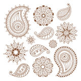Henna tattoo mehndi doodle elements set Stock Photos