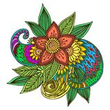 Henna tattoo mehndi flower doodle ornamental decorative indian design pattern paisley arabesque mhendi embellishment. Henna tattoo mehndi flower template doodle Royalty Free Stock Images