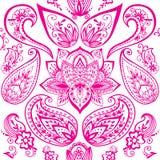 Henna tattoo mehndi flower doodle ornamental decorative indian design seamless pattern paisley arabesque embellishment. Henna tattoo mehndi flower template Stock Photos