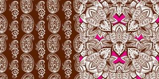 Henna tattoo mehndi flower doodle ornamental decorative indian design seamless pattern paisley arabesque embellishment. Henna tattoo mehndi flower template Royalty Free Stock Photos
