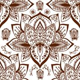 Henna tattoo mehndi flower doodle ornamental decorative indian design seamless pattern paisley arabesque embellishment Stock Images