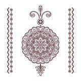 Henna tattoo pendant and borders on white Royalty Free Stock Photo