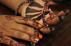 Henna Tattoo & Prayer Beads Royalty Free Stock Images