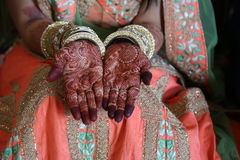 Henna tattoo on women hands. Mehndi is traditional Indian decorative art stock images
