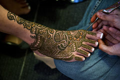 Henna Tattoos. Image of Henna Tattoo's on an Indian bride's feet royalty free stock photos