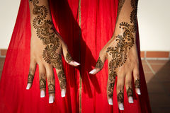 Henna Tattoos. Image of Henna Tattoo's on an Indian bride's hands royalty free stock photography