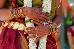 Henna Tattoos. Image of Henna Tattoo's on an Indian bride's hands stock photography