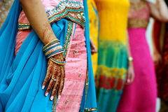 Henna Tattoos and Saris Royalty Free Stock Photo