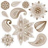 Henna tatuażu doodle wektoru elementy Zdjęcia Stock