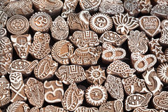 Henna wooden stamps. Various of different henna wooden stamps at Anjuna flea market in Goa, India Royalty Free Stock Images