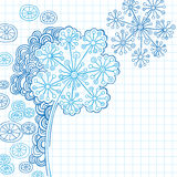 Hennastrauch-abstrakter Blumen-Gekritzel-Vektor Stockbilder