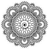 Hennastrauch-Elementmandala Mehndi indische für tatoo oder Karte Stockfotos
