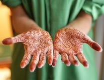 Hennastrauch gemalte Hände Lizenzfreies Stockfoto
